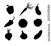 vegetables icons set black... | Shutterstock .eps vector #392935084
