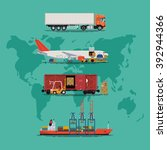 global supply chain heavy... | Shutterstock .eps vector #392944366