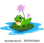Funny Green Frog Cartoon...