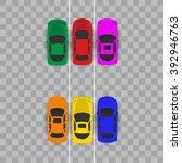 cars top view  color machine ... | Shutterstock .eps vector #392946763