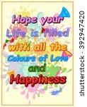 happy holi  festival of colors .... | Shutterstock .eps vector #392947420