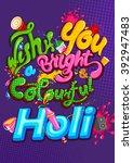 happy holi  festival of colors .... | Shutterstock .eps vector #392947483