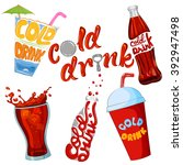set of cold drink and beverage... | Shutterstock .eps vector #392947498