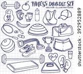 hand drawn fitness doodle set... | Shutterstock .eps vector #392952889