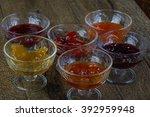 jam assortie on the wood...   Shutterstock . vector #392959948