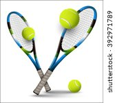 tennis rackets and balls... | Shutterstock .eps vector #392971789