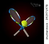 tannis ball and racket on the... | Shutterstock .eps vector #392971978