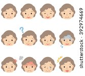 expression of elderly woman | Shutterstock . vector #392974669