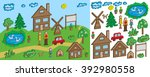 the pixel objects and figures... | Shutterstock .eps vector #392980558