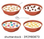 vector set of bowls with... | Shutterstock .eps vector #392980873