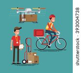 cool courier characters workers ... | Shutterstock .eps vector #393004738
