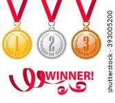 gold medal. silver medal....   Shutterstock .eps vector #393005200