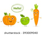 funny cartoon fruits and... | Shutterstock .eps vector #393009040