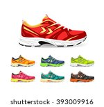 set of sport shoes. sneaker.... | Shutterstock .eps vector #393009916