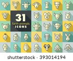 set of farm animals icons.... | Shutterstock .eps vector #393014194