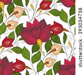 vector seamless floral pattern. ... | Shutterstock .eps vector #393034738