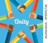 vector unity concept. hands... | Shutterstock .eps vector #393051736