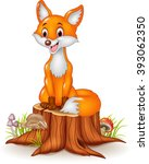 cartoon happy fox sitting on... | Shutterstock .eps vector #393062350