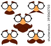set of funny disguise masks...   Shutterstock .eps vector #393063703