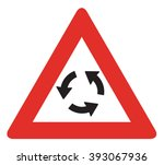 uk roundabout ahead sign   Shutterstock . vector #393067936