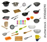 collection set of kitchen... | Shutterstock . vector #393068290