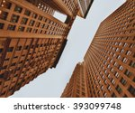 nyc   looking up. buildings of... | Shutterstock . vector #393099748