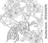 Zentangle Stylized Cartoon Bee...
