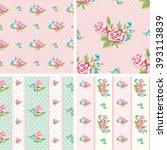 Shabby Chic Rose Patterns. Set...