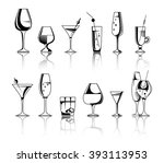 set of alcohol drinks and...   Shutterstock .eps vector #393113953