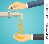 business hand open tap. money...   Shutterstock .eps vector #393114370