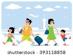 funny family in airport. vector ... | Shutterstock .eps vector #393118858