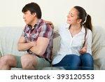 girl asking for forgiveness... | Shutterstock . vector #393120553