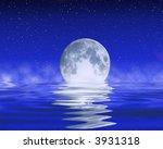 moon on the ocean horizon | Shutterstock . vector #3931318