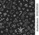 christmas seamless pattern hand ... | Shutterstock . vector #393135010