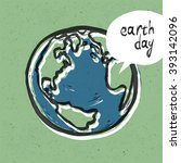earth day poster. on recycled... | Shutterstock . vector #393142096