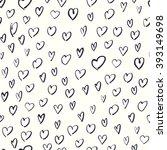 seamless hand drawn hearts... | Shutterstock . vector #393149698