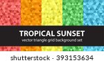 """triangle pattern set """"tropical...   Shutterstock .eps vector #393153634"""