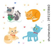 cute little cats vector... | Shutterstock .eps vector #393155860