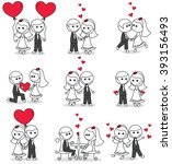 collection set of cute couple... | Shutterstock .eps vector #393156493