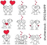 collection set of cute couple... | Shutterstock .eps vector #393156499