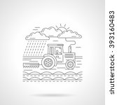 tractor harvesting or plowing a ... | Shutterstock . vector #393160483