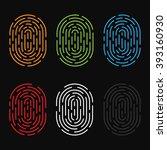 set of the vector fingerprint... | Shutterstock .eps vector #393160930