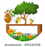 bees cartoon holding flower and ... | Shutterstock .eps vector #393165358