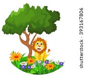 lion cartoon sitting in the... | Shutterstock .eps vector #393167806