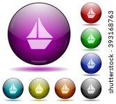 set of color sailboat glass...