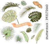 set of trendy tropical leaves ... | Shutterstock .eps vector #393172660