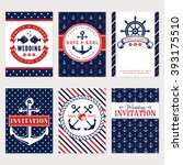 nautical wedding invitation... | Shutterstock .eps vector #393175510