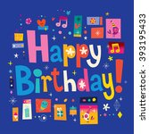 happy birthday greeting card | Shutterstock .eps vector #393195433