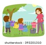 stickman illustration of kids... | Shutterstock .eps vector #393201310