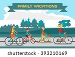 family ride bike on highway.... | Shutterstock .eps vector #393210169